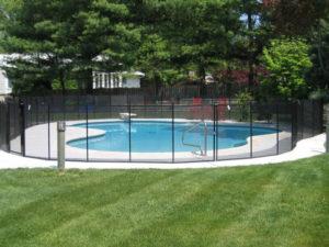 black mesh pool fence