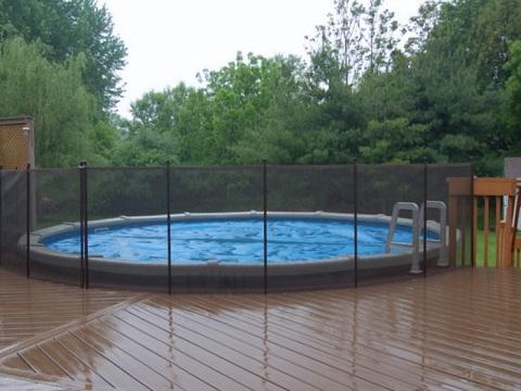 brown above ground pool fence