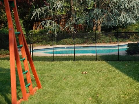inground black pool fence