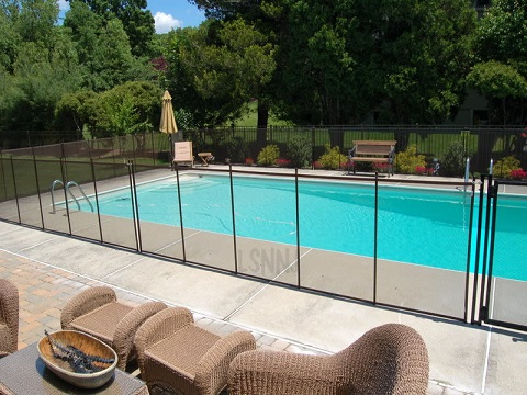 installed brown pool fencing