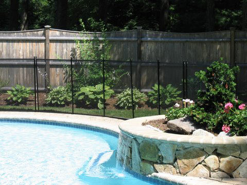 removable black mesh pool fence