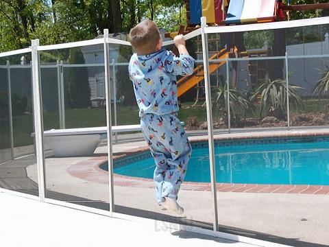 white pool fence