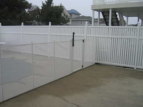 white pool fences