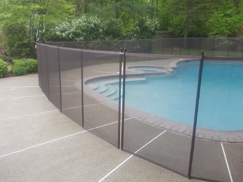 installed brown pool fencing