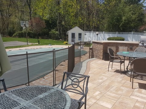 brown swimming pool fencing