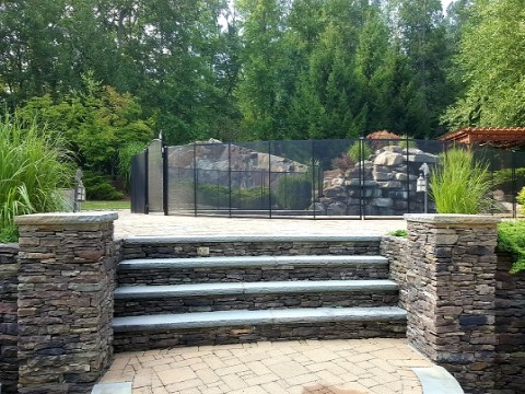 Pool Fence on Pavers