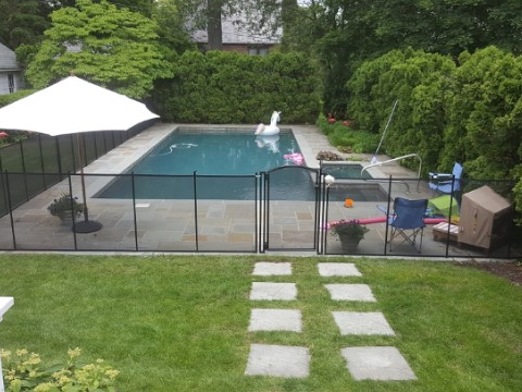 Pool Fence installed in Figure L configuration