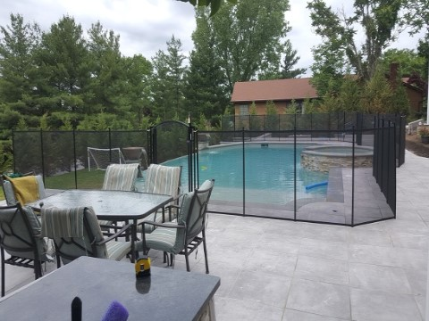 Porcelain Deck Mesh Pool Fence Installation