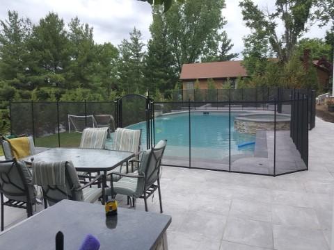 Porcelain Deck Mesh Pool Fence Installation