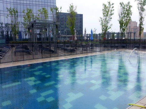Rooftop Swimming Pool Fence Installation in Fort Lee, NJ